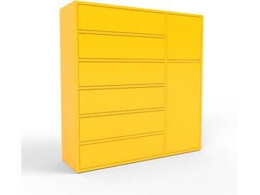 Buffet - jaune, moderne, avec porte jaune et tiroir jaune - 116 x 118 x 35 cm