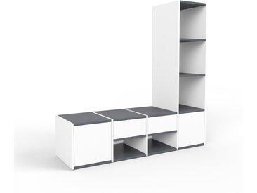 Système d'étagère - blanc, design, rangements, avec porte blanc et tiroir blanc - 156 x 157 x 47 cm