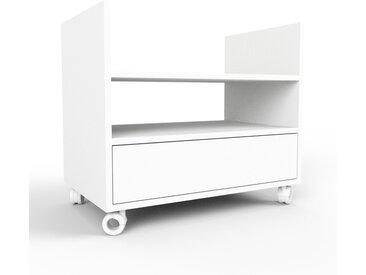 Caisson à roulette - blanc, pièce modulable, rangement mobile, avec tiroir blanc - 77 x 61 x 47 cm