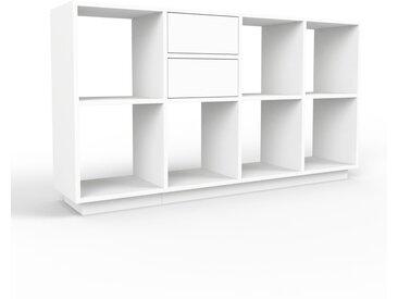 Bibliothèque - blanc, modèle tendance, rangements pour livres, avec tiroir blanc - 156 x 85 x 35 cm, modulable