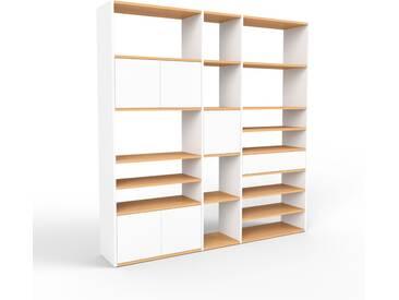 Système détagère - blanc, design, rangements, avec porte blanc et tiroir blanc - 190 x 195 x 35 cm
