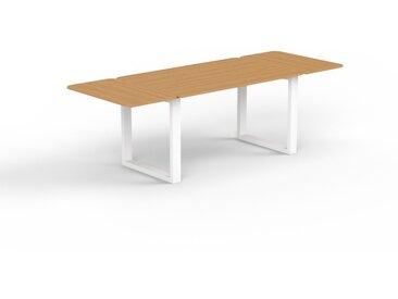 Table à manger en chêne, bois massif, pour salle à manger ou cuisine chaleureuse - 240 x 75 x 90 cm, personnalisable