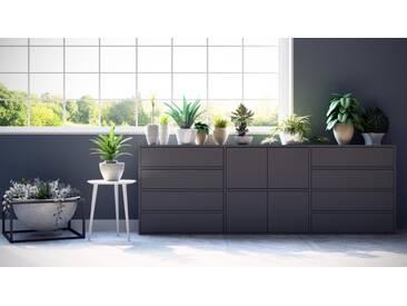 Enfilade - gris, design, buffet, avec porte gris et tiroir gris - 226 x 80 x 35 cm