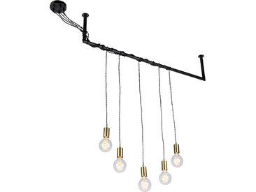 Suspension Industrielle laiton 5 lumières avec fixation en tube d'échafaudage - Cavoba