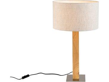 Lampe de table droite rurale en bois avec abat-jour couleur poivre 35cm - Pillar