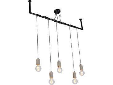 Suspension Industrielle Beton 5 lumières avec fixation en tube d'échafaudage- Cavoba