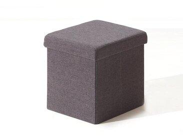 Pouf-coffre pliable MIAMI tissu gris foncé