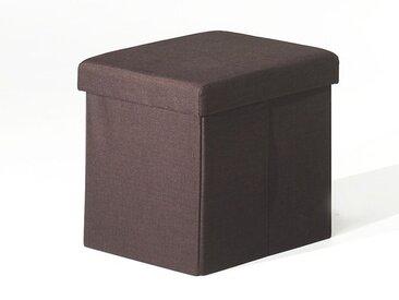 Pouf-coffre pliable MIAMI tissu brun foncé