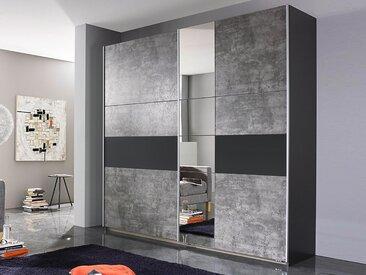 Armoire KORO 2 portes coulissantes béton/gris métallique avec miroir