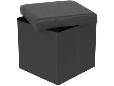 Pouf-coffre pliable MIAMI eco-cuir gris