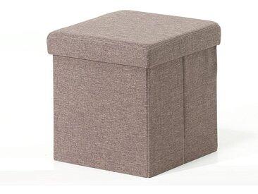 Pouf-coffre pliable MIAMI tissu brun clair