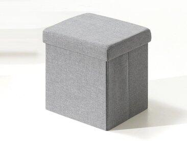 Pouf-coffre pliable MIAMI tissu gris clair