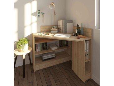 Bureau d'angle en bois imitation naturel avec niche de rangement - BU6010