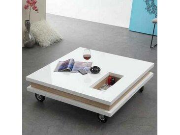 Table Basse Carrée Blanche Roulettes