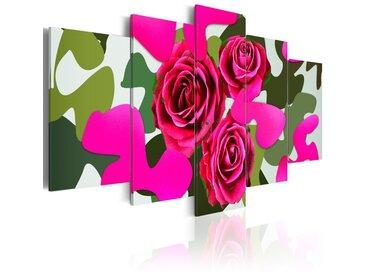 Tableau - Roses au néon - 5 parties
