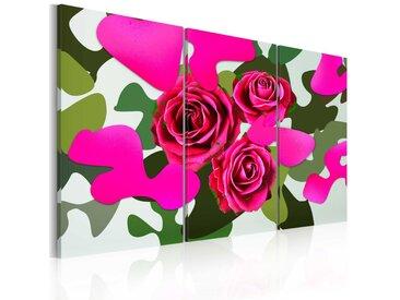 Tableau - Roses au néon - triptyque