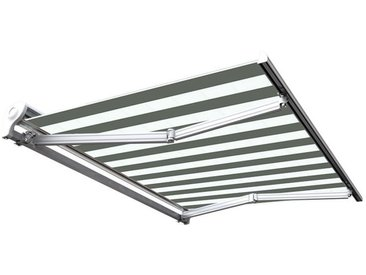 Store banne manuel Demi coffre pour terrasse - Blanc métallisé - Blanc gris - 3,6 x 3 m