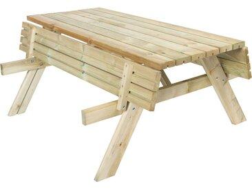 Table Picnic Bancs Pliables 200 Bois Naturel 198x154x74 cm - KSU12893 - GARDIUN