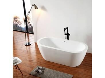 Baignoire îlot ovale en acrylique JAZZ blanc - 173 x 78 cm - robinetterie en option: Sans robinet mitigeur, Avec siphon