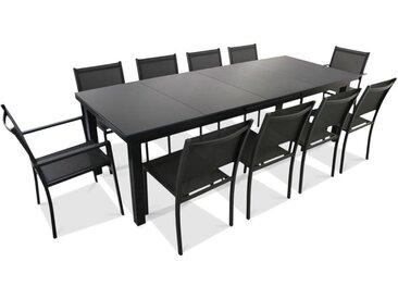 Ensemble Table de jardin extensible 256/320 cm et 10 chaises - Gris
