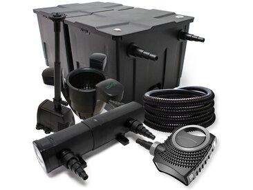 Kit de filtration avec Bio Filtre 60000l, 24W UV Stérilisateur, 80W Pompe, 25m Tuyau et Skimmer