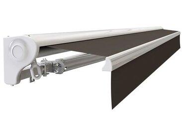 Store banne Demi coffre motorisé et manuel pour terrasse - Blanc métallisé - Taupe - 4 x 3 m