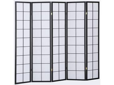 Paravent japonais grands carreaux bois noir et papier de riz - 5 pans - Dim : H 178,6 -PEGANE-