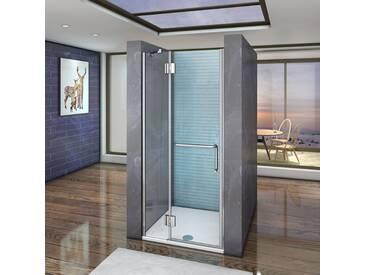 120x190cm, cabine de douche à charnière, porte de douche pivotante, porte-serviette, installation en niche,Vitrification NANO,anticalcaire,sans receveur