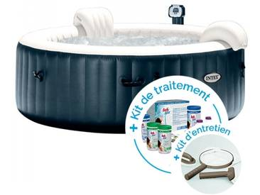 Spa gonflable Intex PureSpa Plus Bulles 4 personnes + Kit dentretien + Kit de traitement au brome