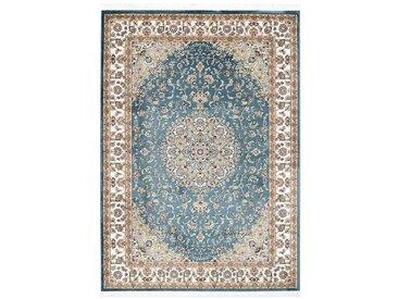 Tapis oriental en polyester avec franges Lakos Bleu 240x330