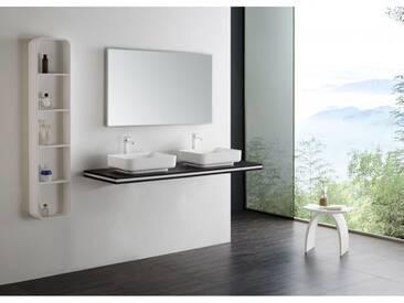 Console double vasque en MDF - SMART-Line - wenge - largeur sélectionnable - support de fixation en option: 120cm, 2x support standard, Sans support