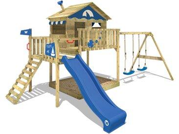 Aire de jeux WICKEY Smart Coast avec toboggan bleu, bac à sable et balançoire