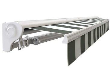 Store banne Demi coffre motorisé et manuel pour terrasse - Blanc métallisé - Blanc gris - 3 x 2,5 m