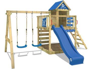 Aire de jeux WICKEY Smart Cave Tour d'escalade avec balançoire, échelle de corde, toboggan blue et bacs à sable