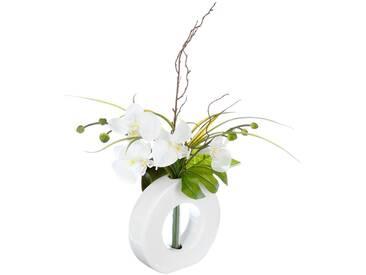 Composition dorchidées blanches et jaunes - vase blanc - Atmosphera