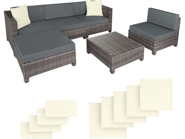 Salon de jardin AMY Modulable 5 Places 4 Fauteuils 1 Tabouret 1 Table en Résine Tressée Structure Aluminium Gris