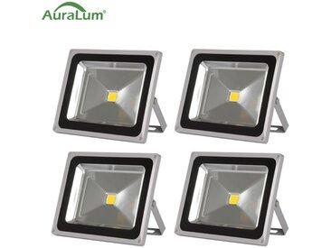 4×Auralum 50W Projecteur LED IP65 Spot LED Éclairage Extérieur et Intérieur 4200-5000LM Blanc Chaud 3000-3500K Coque Gris