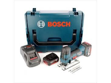 Bosch GST 18 V-Li S Professional Scie sauteuse sans fil + Coffret de transport L-Boxx + 2x Batteries GBA 5,0 Ah + Chargeur + Set daccessoires