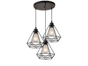 Lustre Suspension Cage en forme Diamant Lampe Plafonnier Corde Ajustable Luminaire pour Cuisine Couloir Bar Chambre