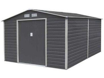 Abri de jardin métal coloris gris anthracite 10,20 m2. + kit d'ancrage inclus