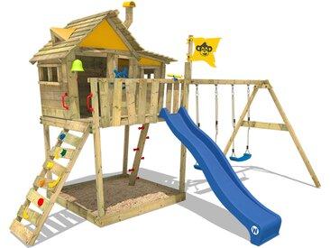 Aire de jeux WICKEY Smart Monkey avec toboggan bleu, bac à sable et balançoire