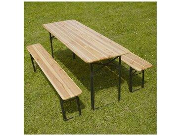 Table et bancs bois Brasserie 220 cm - Lot de 5