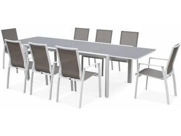 Salon de jardin table extensible - Washington Taupe - Table en aluminium 200/300cm, 8 fauteuils en textilène