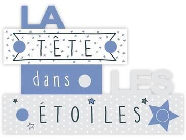 Patère Tête dans les étoiles - 5 crochets - Bleu