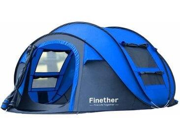 Finether Tente de Camping Pop Up Tente Ouverture Automatique 5 Personnes Portable Pour Randonnée Bivouac Plage Activité en Plein Air Sac de Transport 290cm W x 200cm D x 130cm H Bleu