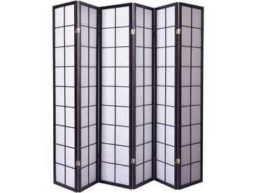 Paravent japonais grands carreaux bois noir et papier de riz - 6 pans - Dim : H 178,6 -PEGANE-