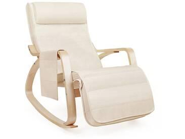 Fauteuil à Bascule Rocking Chair avec Repose-Pieds réglable à 5 Niveaux Design Charge Maximum 150kg Lin Beige LYY12M