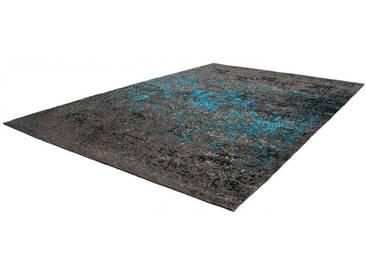 Tapis plat fait main effet vintage Cocoon Lalee Bleu 80x150