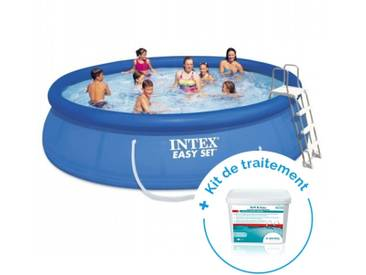 Pack Kit piscine autoportée Intex Easy Set 4,57 x 1,07 m + Traitement pour piscines < 20 m³