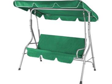 Balancelle de jardin terrasse - Verte - 3 personnes - Structure en acier solide - Max 250 Kg - Toit réglable avec protection UV